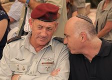 FILE: Former Chief of General Staff of the IDF Benny Gantz and Chief of the Shin Bet Yoram Cohen at the Memorial Ceremony marking 35 years since Yonatan Netanyahu's death in Operation Entebbe. At Herzl Mount, Jerusalem in 2011.