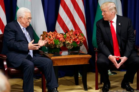 President Donald Trump meets with Palestinian Authority President Mahmoud Abbas at the Palace Hotel during the United Nations General Assembly, Wednesday, Sept. 20, 2017, in New York.