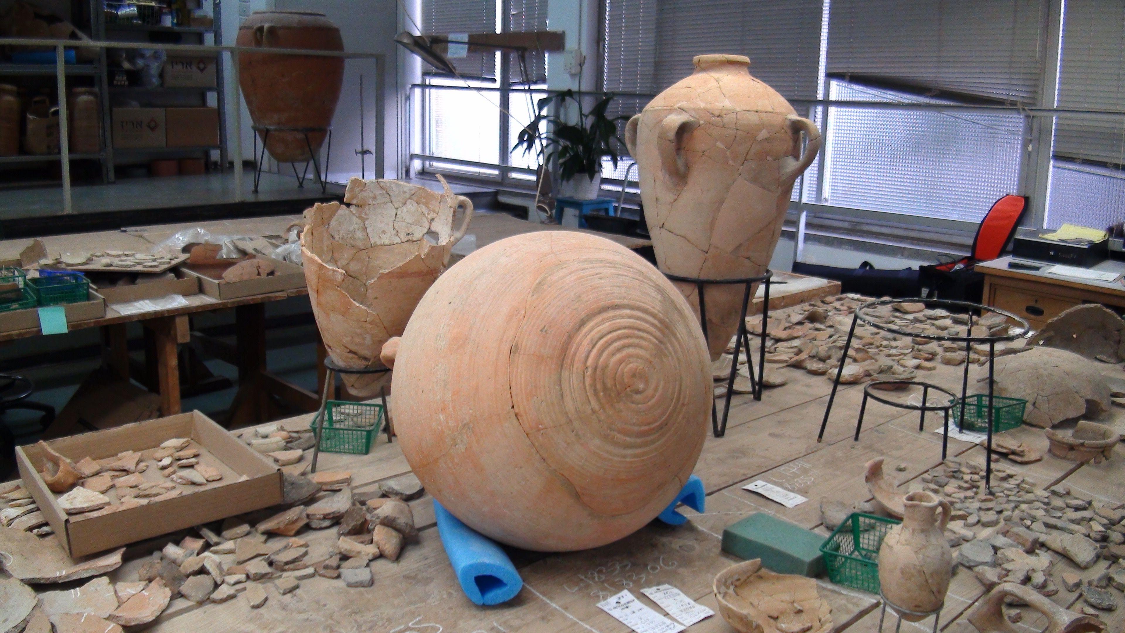 Roman storage jar undergoing a restoration process