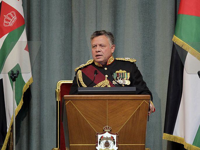Jordan's King Abdullah II addresses the opening of the Jordanian Parliament in the capital Amman on Feb.10, 2013