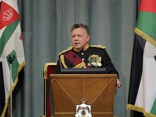 Jordan's King Abdullah II addresses the opening of the Jordanian Parliament in the capital Amman on Feb.10, 2013