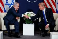 President Donald Trump meets with Israeli Prime Minister Benjamin Netanyahu at the World Economic Forum, Thursday, Jan. 25, 2018, in Davos.