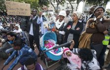 Asylum seekers in south Tel Aviv protesting Israel's asylum policy, March 2015