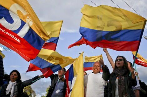 Colombians flutter national flags upon the arrival from Cuba of the head of the Colombian government delegation for peace talks with the FARC guerrillas in Bogota, Colombia.