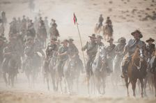 History enthusiasts and descendants of Australian Mounted Division and ANZAC (Australian and New Zealand Mounted Division) Mounted Division soldiers ride as they prepare for reenactment of the Battle of Beersheba when British and ANZAC forces captured Bee
