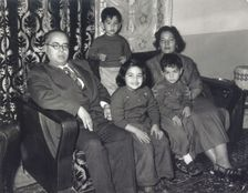Linda Menuhin Abdel Aziz family photo with her father on the left