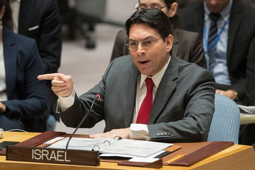 Israel's ambassador to the United Nations Danny Danon speaks during a Security Council meeting on the situation in Gaza, Tuesday, Feb. 20, 2018 at United Nations headquarters.