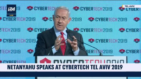 Israeli Prime Minister Benjamin Netanyahu speaks at the 2019 CyberTech conference in Tel Aviv, January 29, 2019
