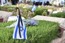 A ceremony for fallen Israeli police officers is held at Jerusalem's Mount Herzl military cemetery on Memorial Day, April 18, 2018