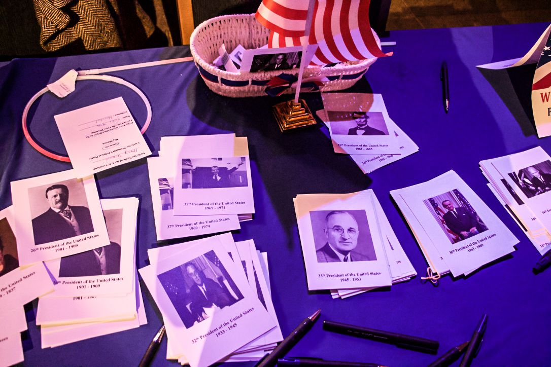 A table is set up for election themed games at the US embassy election party in Tel Aviv on November 8, 2016