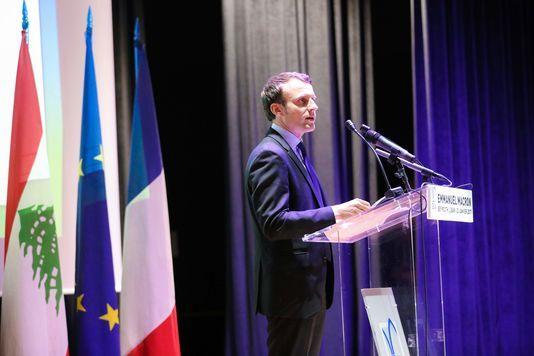 Emmanuel Macron lors de son intervention à l'Ecole supérieure des affaires de Beyrouth, au Liban, le 23 janvier.