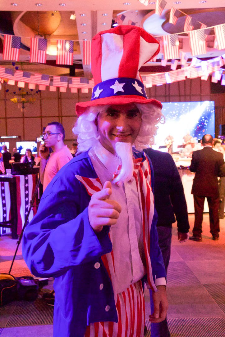 Uncle Sam greets guests at the US embassy election party in Tel Aviv on November 8, 2016