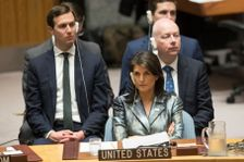 American Ambassador to the United Nations Nikki Haley, center, Jared Kushner, left, and Jason Greenblatt, listen as Palestinian President Mahmoud Abbas speaks during a Security Council meeting on the situation in Palestine, Tuesday, Feb. 20, 2018.