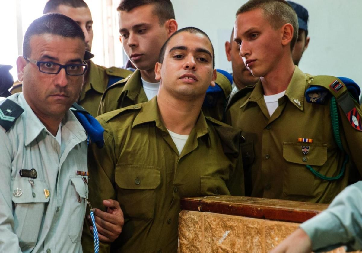 Elor Azaria in the Jaffa military court on May 9