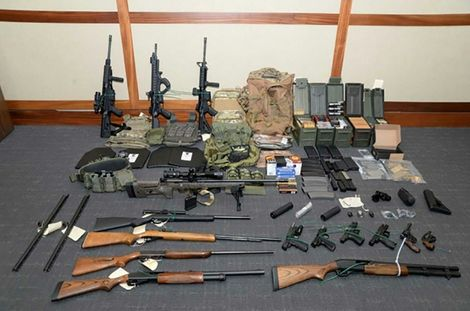 This undated image released by the US Attorney's Office shows weapons seized at the Silver Spring, Maryland, home of US Coast Guard officer Christopher Paul Hasson, a self-described white nationalist arrested on firearms and drug charges