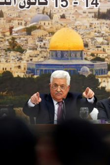 Palestinian president Mahmoud Abbas speaks during a meeting in the West Bank city of Ramallah