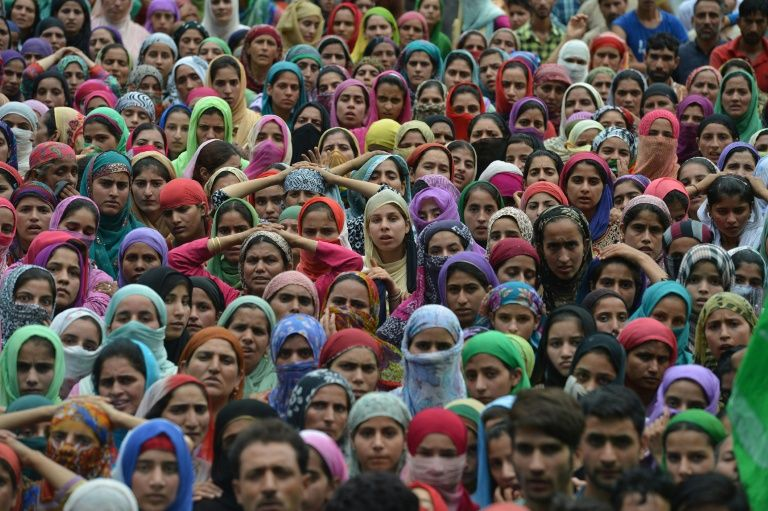 Kashmiri mourners attend the funeral of four civilians reportedly killed in a clash with Indian security forces on the outskirts of Srinagar in August 2016