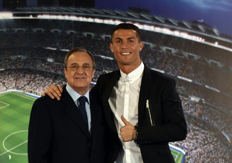Under president Florentino Perez (L) Real Madrid has one of the world's most expensive squads, including leading goalscorer Cristiano Ronaldo (R)