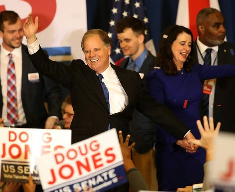 Doug Jones becomes the first Democrat since 1992 to be elected to the US Senate, after defeating scandal-scarred Republican candidate Roy Moore in their special election on December 12, 2017