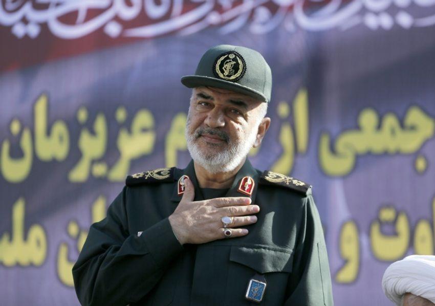 Le numéro deux des Gardiens de la Révolution iraniens, le général de brigade Hossein Salami, lors d'une cérémonie en honneur des victimes de l'attentat d'Ahvaz, le 24 septembre 2018