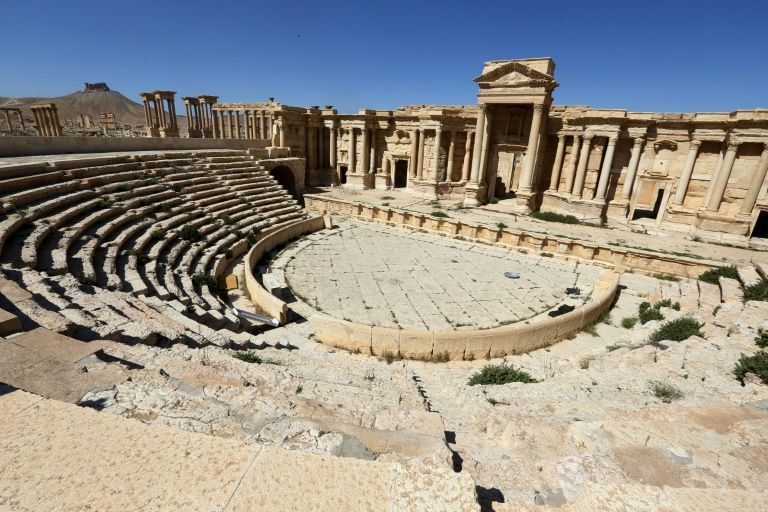 The Roman amphitheatre in the ancient city of Palmyra in Syria, pictured on March 31, 2016