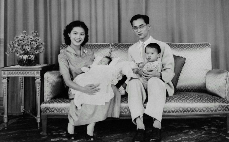 The King of ThailandBhumibol Adulyadej with his wife Sirikit Kitiyakara and their children, The Princess Maha Chakri Sirindhorn and Crown Prince Maha Vajiralongkorn, in June 1955.