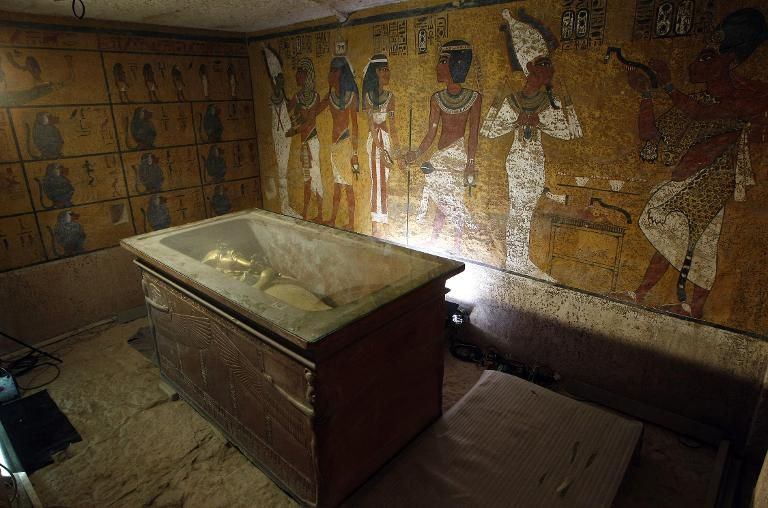 The sarcophagus of King Tutankhamun in the Valley of the Kings, close to Luxor, on November 4, 2007