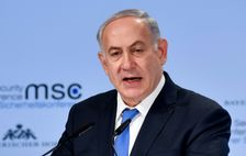Israeli Prime Minister Benjamin Netanyahu delivers a speech on the third day of the 54th Munich Security Conference at the Bayerischer Hof hotel in Munich, southern Germany, on February 18, 2018
