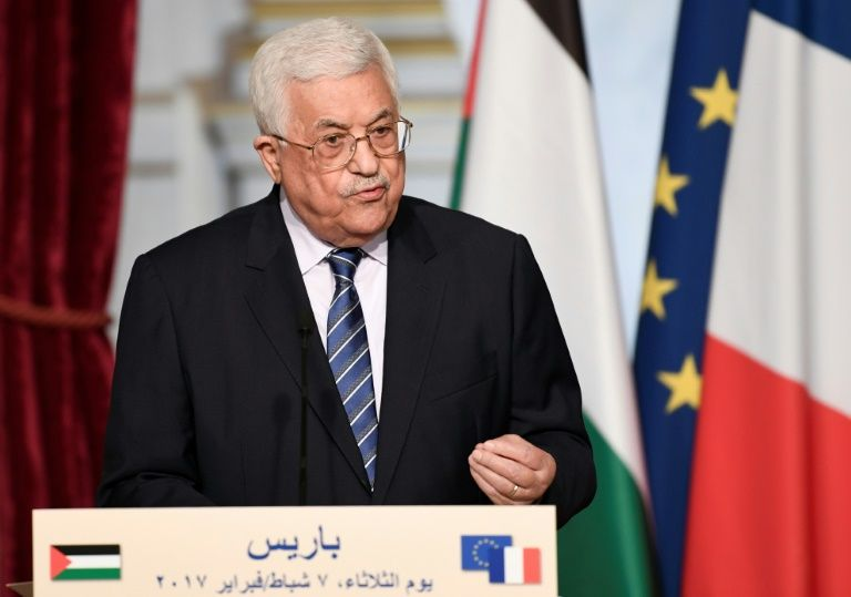 Palestinian president Mahmud Abbas speaks during a joint statement with French President following their meeting at the Elysee Presidential Palace in Paris on February 7, 2017