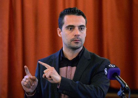 Chairman of Hungary's far-right Jobbik party Gabor Vona talks about the party program in Ajka on April 9, 2015, during an electoral campaign meeting