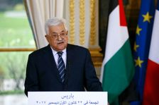 Palestinian President Mahmud Abbas gives a joint press conference with French president following their meeting in Paris, on December 22, 2017