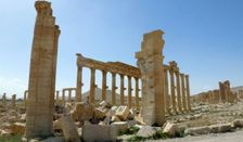 The remains of the Arch of Triumph in Palmyra after it was destroyed by the Islamic State group in in Syria