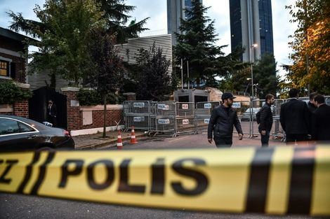 The Saudi Arabian consulate in Istanbul is cordoned off by Turkish police who searched the premises in the case of missing Saudi journalist Jamal Khashoggi
