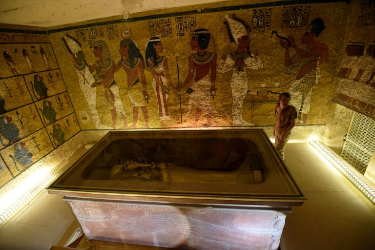 The golden sarcophagus of King Tutankhamun displayed in his burial chamber in the Valley of the Kings, close to Luxor, 500 kms south of the Egyptian capital Cairo on April 1, 2016