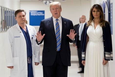 US President Donald Trump and first lady Melania visited a hospital in Pompano Beach, Florida, where school shooting victims were being treated