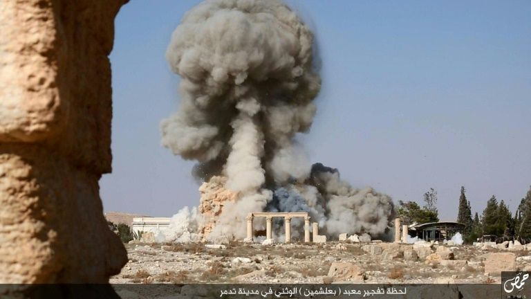 An Islamic State image allegedly shows smoke billowing from the Baal Shamin temple in Syria's ancient city of Palmyra