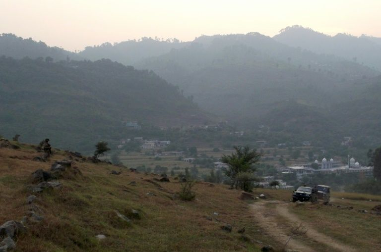 Pakistani army soldiers a village in Bhimber near the Line of Control in Kashmir during a media trip organised by the Pakistani army on October 1, 2016