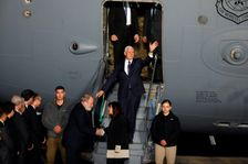 US Vice President Mike Pence waves as he steps off a plane upon arrival at Ben Gurion Airport near the Israeli city of Tel Aviv on January 21, 2018 on his delayed Middle East tour after visiting Egypt and Jordan