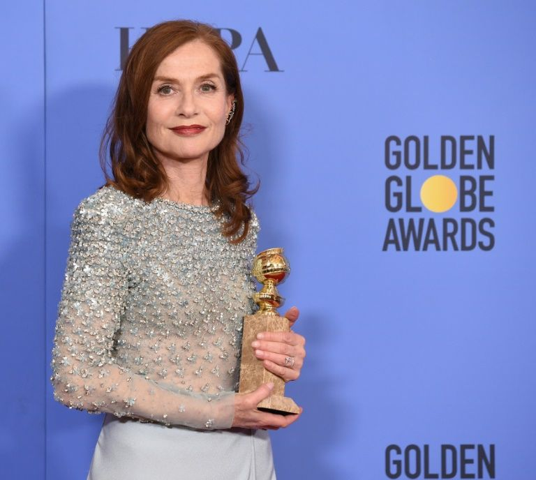 Isabelle Huppert with the Golden Globe for best actress in Los Angeles January 8 2017