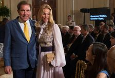 US casino owner Steve Wynn, shown here with his wife Andrea, has resigned as chairman and CEO of his company Wynn Reosrts over sexual harassment claims