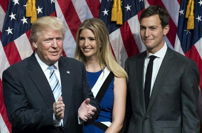 Donald Trump, avec sa fille Ivanka et son gendre Jared Kushner, le 16 juillet 2016 à New York