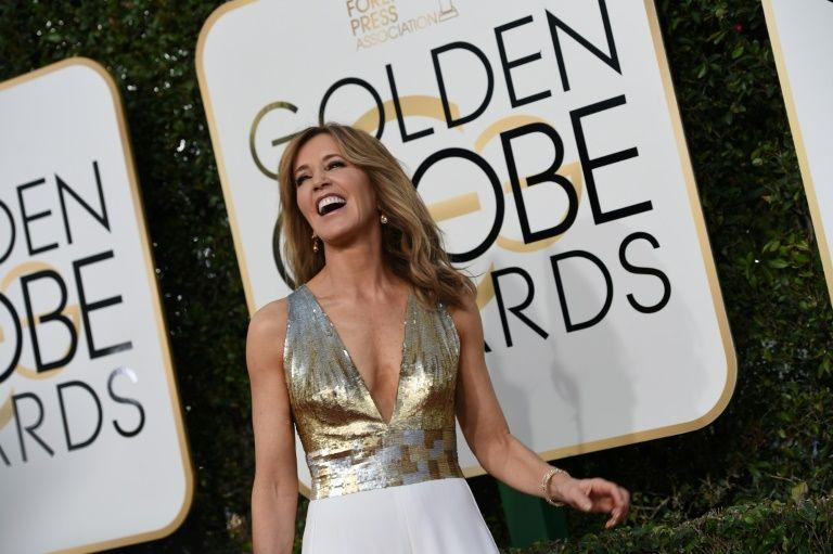 L'actrice Felicity Huffman sur ke tapis rouge des Golden Globes, le 8 janvier 2017
