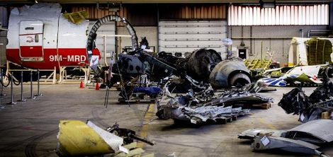 The wreckage of the Malaysia Airlines flight MH17, which was shot down over Ukraine in July 2014, is laid out in a hangar on Gilze-Rijen airbase in the southern Netherlands, March 2, 2015