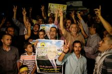 Palestinian supporters of Fateh movement and Palestinian president Mahmud Abbas in Gaza City as Abbas addresses the United Nations General Assembly