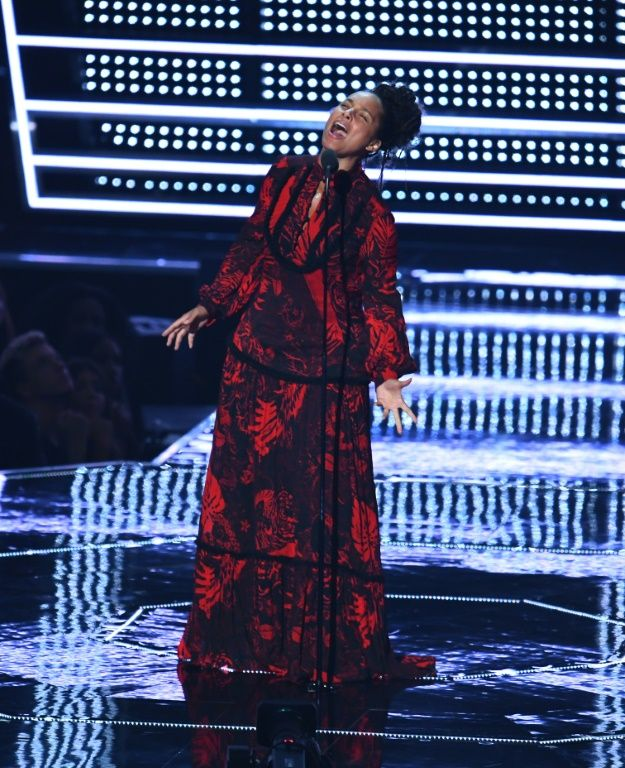 Alicia Keys offered another of the night's powerful moments as she recited a poem she said was inspired by civil rights hero Martin Luther King Jr