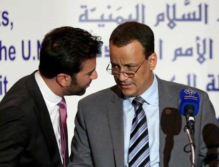 UN Special Envoy to Yemen, Ismail Ould Cheikh Ahmed (R), talks with UN spokesman Charbel Raji during a press conference on May 5, 2016 at the information ministry in Kuwait City