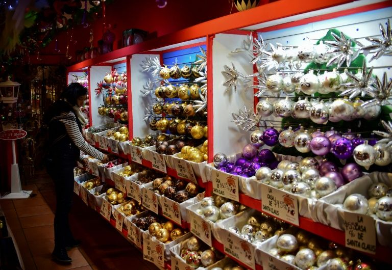 Christmas ornaments at a shop in Tlalpujahua, in Mexico's Michoacan state
