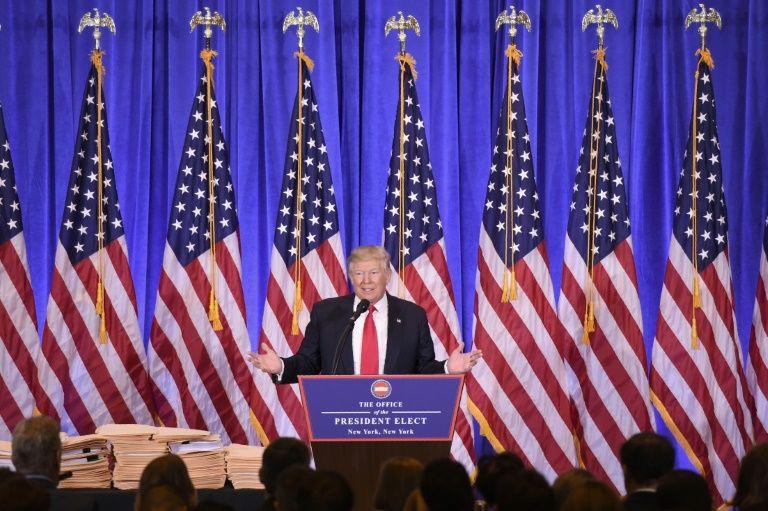 Le président américain élu Donald Trump donne une conférence de presse à New York, le 11 janvier 2017