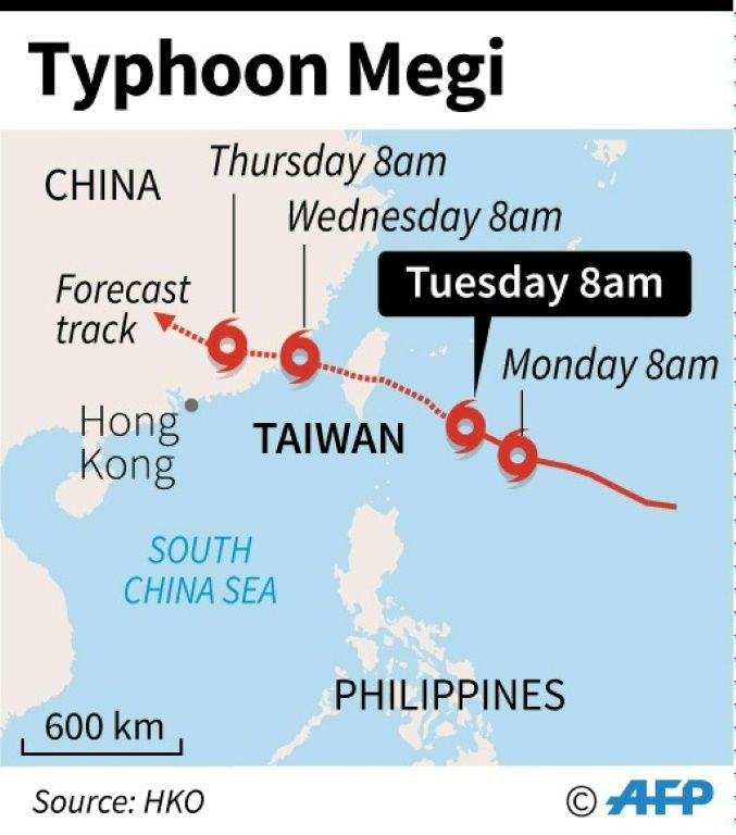 Map showing the forecast track of Typhoon Megi moving towards Taiwan on September 27, 2016