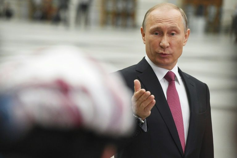 الرئيس الروسي فلاديمير بوتين متحدثا للصحافيين في موسكو في 15 حزيران/يونيو 2017